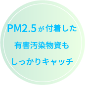 PM2.5が付着した有害汚染物資もしっかりキャッチ